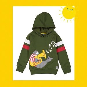 Other - (G) Army Trumpet Seal Henley Hooded Sweatshirt